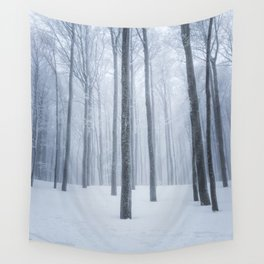 Foggy frozen winter forest Wall Tapestry