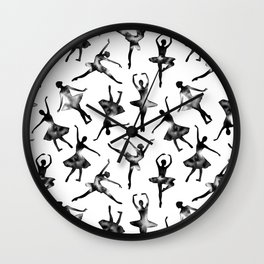 Watercolor Ballerinas (Black) Wall Clock
