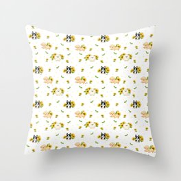 Puppies And Sunflowers Throw Pillow
