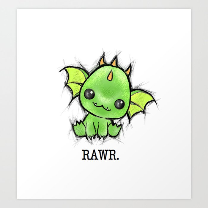 Baby Dragon Kawaii Art Print by steelartstudios | Society6