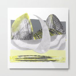 Yellow and Gray Mountain Boat Metal Print