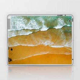 Ocean Waves Crushing On Beach, Drone Photography, Aerial Photo, Ocean Wall Art Print Decor Laptop & iPad Skin