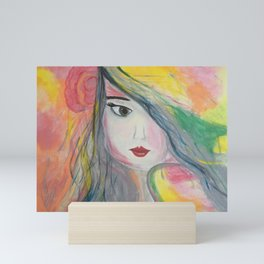 Pretty Girl. Yellow Pink and Green Girl Painting by Jodi Tomer. Figurative Abstract Pop Art. Mini Art Print