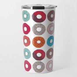 Colourful, illustrated, glazed, sprinkle Donut pattern Travel Mug