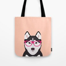 Kamri - Siberian Husky with Pink Hipster Glasses, Cute Retro Dog, Dog, Husky with Glasses, Funny Dog Tote Bag