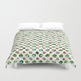 Watercolor seamless hand drawn pattern with green and brawn apples Duvet Cover