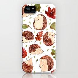 Autumn Hedgehogs iPhone Case