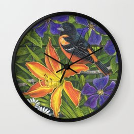 Northern Oriole and Day Lily Wall Clock