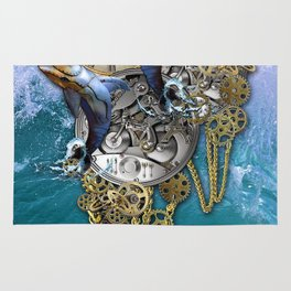 Steampunk Dolphin Time Rug