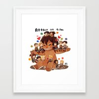 snk Framed Art Prints featuring SNK-Mini Titan by Mimiblargh