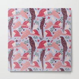 Ara Parrot Tropical Pattern Metal Print