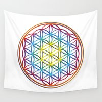 flower of life Wall Tapestries featuring the flower of life by Li-Bro