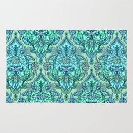 Botanical Moroccan Doodle Pattern in Mint Green, Lilac & Aqua Rug