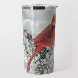 Cardinal on Snowy Branch (sq) Travel Mug