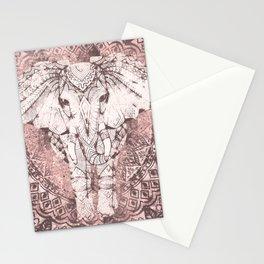 Bohemian, Elephant, Mandala, Blush, Moon Stationery Cards