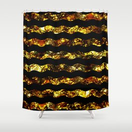 Golden Waves - Abstract, black and gold, wavy stripes pattern Shower Curtain