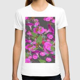 Decorative Pink Morning Glories on Grey Art Design T-shirt