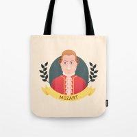 mozart Tote Bags featuring Mozart by Espaco Ilusório