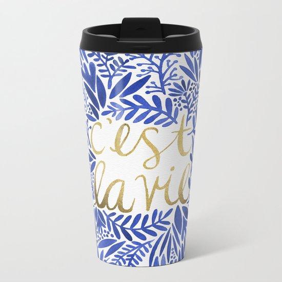 That's Life – Gold & Blue Metal Travel Mug