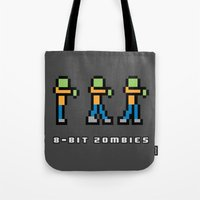 8 bit Tote Bags featuring 8-BIT ZOMBES LOVE 8-BIT BRAINS by Lewys Williams
