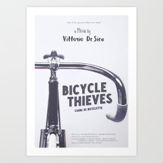 Bicycle Thieves - Movie Poster for De Sica's masterpiece. Neorealism film, fine art print. Art Print