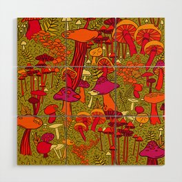 Mushrooms in the Forest Wood Wall Art