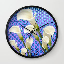 WHITE CALLA LILIES BLUE-PURPLE ABSTRACT ART Wall Clock