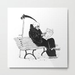 Grim reaper reading newspaper - cartoon skeleton - dark skull Metal Print