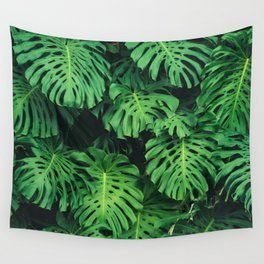 Monstera leaf jungle pattern - Philodendron plant leaves background Wall Tapestry
