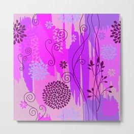 Boho Floral Pattern Var. 11 Metal Print