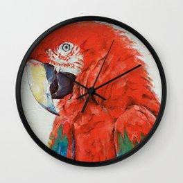 Crimson Macaw Wall Clock