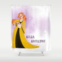 hufflepuff Shower Curtains featuring Helga Hufflepuff by Hailey Del Rio