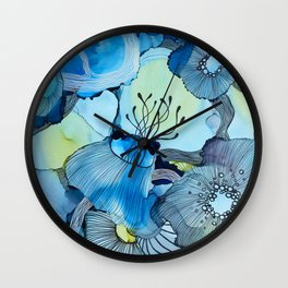 Blue Reef, Alcohol Inks, Line Artwork, Line Art, Underwater Scene Wall Clock