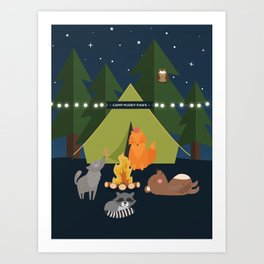 Camping Woodland Animals Kids Decor Art Print