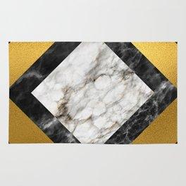 Gold foil white black marble #5 Rug