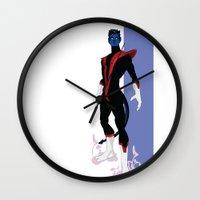 nightcrawler Wall Clocks featuring Nightcrawler by Andrew Formosa