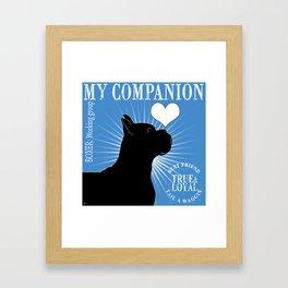 BOXER – My Companion - Blue Framed Art Print