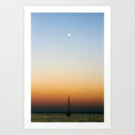 Sailboat Under the Moon Art Print