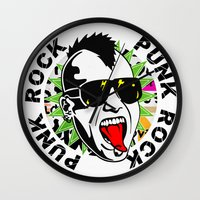 punk Wall Clocks featuring punk by mark ashkenazi