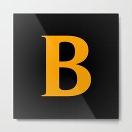 B MONOGRAM (ORANGE & BLACK) Metal Print