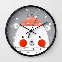 Christmas Polar Bear Wall Clock