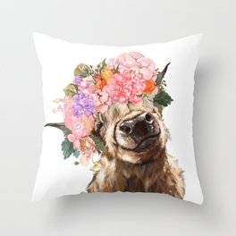 Highland Cow with Flower Crown Throw Pillow