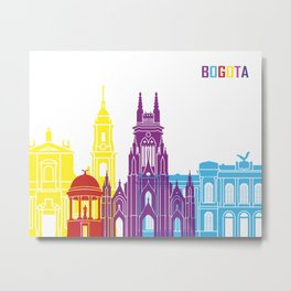 Bogota skyline pop Metal Print