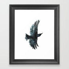 Crow Watercolour Framed Art Print