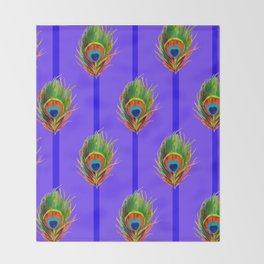 Decorative Contemporary  Peacock Feathers Art Throw Blanket