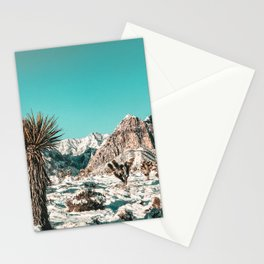 Vintage Lovers Cacti // Red Rock Canyon Mojave Nature Plants and Snow Desert in the Winter Stationery Cards