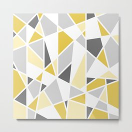 Geometric Pattern in yellow and gray Metal Print