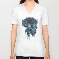 blueprint V-neck T-shirts featuring Cranial Blueprint by James Beech