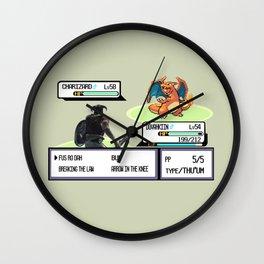 Dovahkiin vs Charizard Wall Clock
