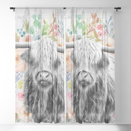Highland Cow With Flowers on Marble Black and White Sheer Curtain